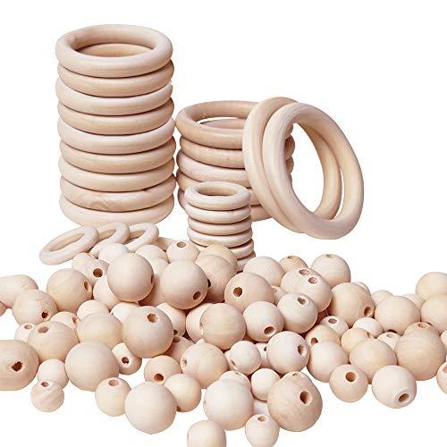 Koytoy Runde Holzperlen und Holzring Set 85 Stück Natürliche Runde Holzperlen 32 Stück Natürliche Holz Ringe für DIY Schmuck Herstellung Heimwerker Handwerk Makramee,mit Perlen-Einfädler