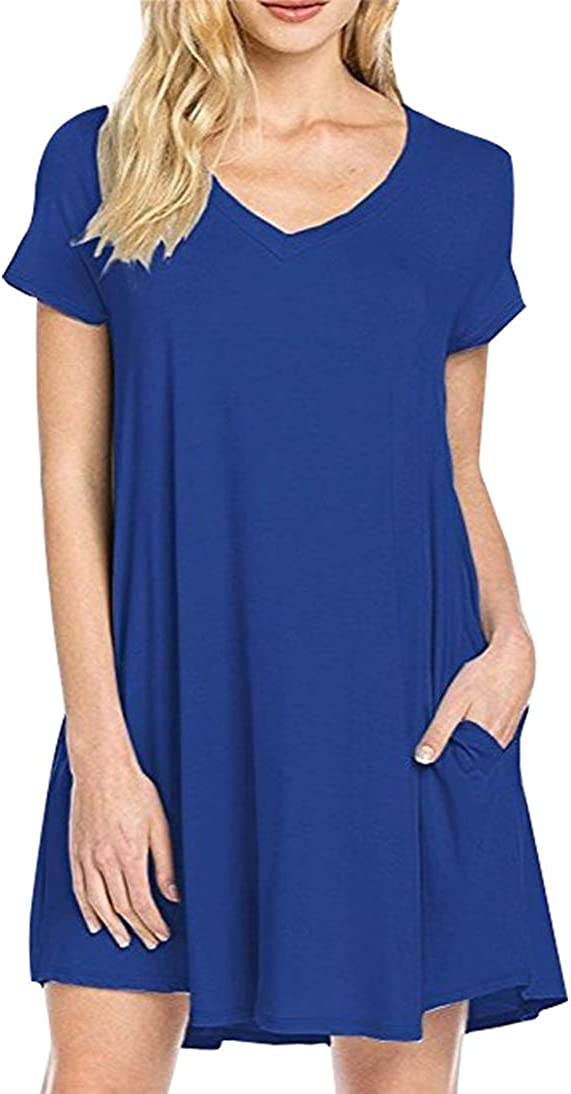 FLITAY Women's V-Neck Short Sleeve Pockets Dress Solid Color Loose Fit Casual Dresses S-2XL