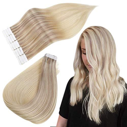 Easyouth Remy Tape auf Doppelseiten Menschenhaar für Frauen 14 Zoll 40 g Farbe 18/22/60 Aschbraun Mix Mittelblond und Platinblond Glue on Human Hair Extension
