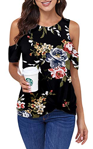 Ancapelion Cold Shoulder - Camiseta de manga corta para mujer, elegante, informal, para verano, cuello redondo con nudos Flor de color negro. L