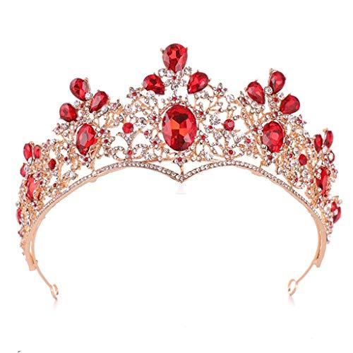 YWSZJ Vintage Gold Bridal Tiara and Earrings Sets Red Rhinestone Headband Wedding Prom Jewelry Set for Women