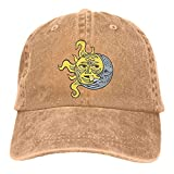 Photo de ANIDOG Kissing Sun and Moon Unisexe Casquettes de Baseball en Denim lavables Ajustables Chapeau de Cow-Boy Multicolore