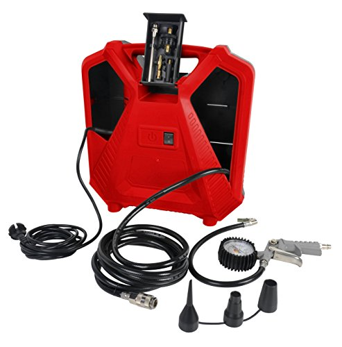 Matrix 180100040 PAC 1100-1 tragbarer Kompressor, 1100 W, 230 V, Rot/Schwarz