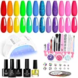 Beetles Gel Nail Polish Starter Kit with U V Light 12 Colors Red, Neon Pink Rainbow Summer Gel Nail Kit with 48W LED Nail Lamp Gel Base Top Coat Cure Yellow Neon Green Gel Polish Nail Gift for Women