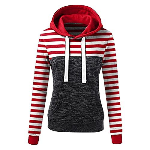 Wave166 Sudadera con capucha para mujer a rayas con estampado de patchwork, sudadera con capucha para mujer, con rayas en el pecho, todas las rayas, 1-rojo, XL