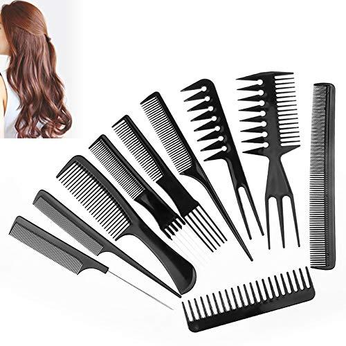 Lot de 10 peignes de coiffeur - Peigne en carbone - Peigne à cheveux antistatique - Double face - Pour salon de coiffure - Noir