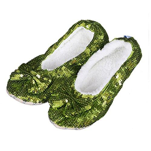 Snoozies Bling - flauschige, wärmende Kuschelschuhe, Hausschuhe, Farbe:hellgrün;Schuhgrößen D:36/37