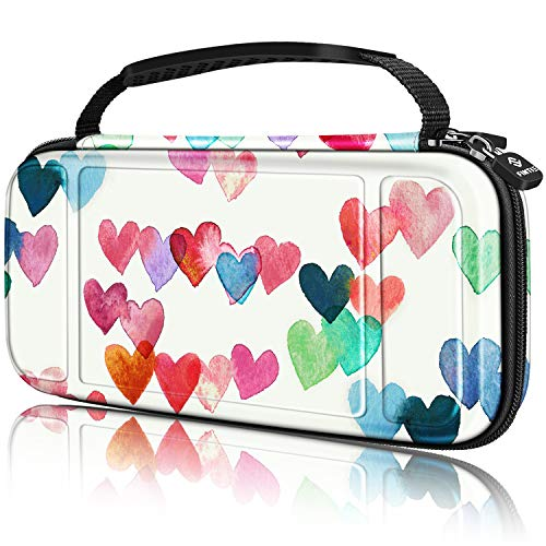 Fintie Carry Case for Nintendo Switch Lite 2019 - [Shockproof] Hard Shell Protective Cover Bag with 15 Game Card/2 Micro SD Card Slots, Inner Pocket for Switch Lite Console, Raining Hearts