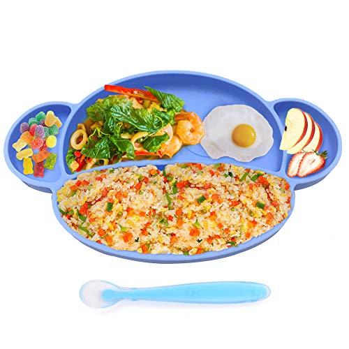 Xiangmall Plato de Silicona Portátil Platos Antideslizantes y cucharas con ventosas Sin BPA para niños pequeños Silla Alta