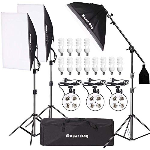 MOUNTDOG 2400W Softbox Photography Lighting Kit 20x 28 Professional Continuous Studio Lighting Equipment with Boom Arm Hairlight and Carry Case for Portrait Product Video Shooting