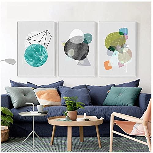 Mwypec Impresión de arte de pared abstracta, pintura de paisaje de paisaje de acuarela, lienzo de paisaje geométrico, pintura de arte, póster para sala de estar, decoración de aula