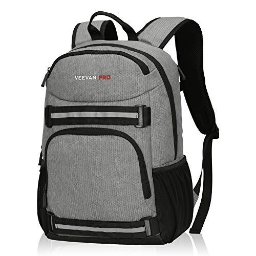 Veevanpro Cooler Backpack Insulated Backpack Cooler Lightweight Skateboard Backpack Leakproof Soft Cooler Bag 25 Cans, Grey