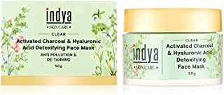 Indya Activated Charcoal Face Mask with Hyaluronic Acid   All Skin Types   Detoxifies skin from daily pollutants   Control...