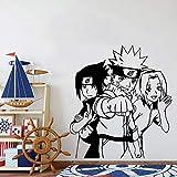Tianpengyuanshuai Naruto Pegatinas de Pared decoración del Arte del Dormitorio de los niños Dormitorio Moderno Tatuajes de Pared de Vinilo Sala de Estar decoración del hogar-76x67cm