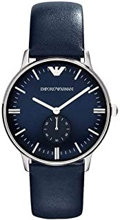 Emporio Armani Men's Blue Dial Leather Band Watch - AR1647