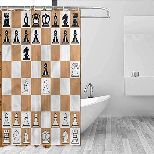 Hotel douchegordijn bordspel klassieke bruin schaakbord westerse douchegordijnen, douchegordijn, W122 X H183 CM/48X72 Inch