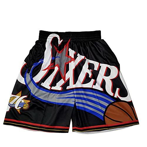 GFIK Pantalones Cortos de Baloncesto de la NBA Pantalones Cortos Bordados densos Pantalones de Baloncesto Retro XL F