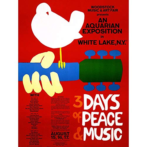 Wee Blue Coo Festival Concert Woodstock Ny Peace Dove Love Legend Art Print Poster Wall Decor 12X16 Inch, Unframed Paper