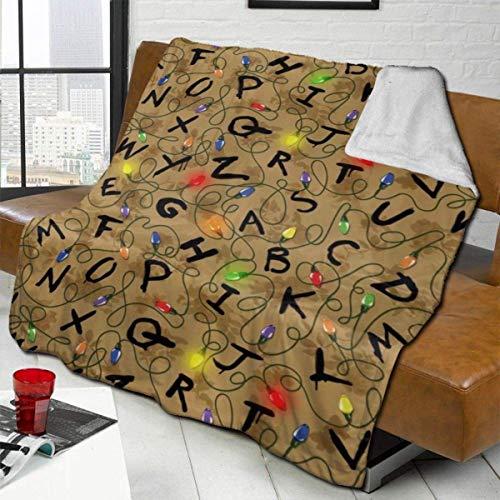 WEIPING Stranger Letter Things Vintge Manta de Microfibra de Lana de Cordero Manta de Microfibra de Lujo Impreso en 3D Suave y Duradera Manta de Felpa para Dormitorio Salas de Estar Sofá