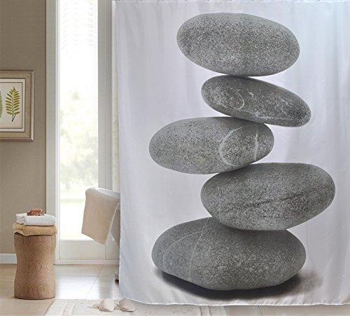 VÄLSON Vaelson Rideau de Douche Textile Pierres 180x200 cm INCL. 12 Anneaux pour Design Rideau de Bain Meditation Asie Anti-Bactérien