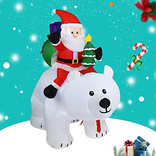 Riesige Aufblasbare Weihnachtsmann Einen Weißen Bären Reiten, Glühend Weihnachtsaußendekoration Mit LED-Licht, Weihnachten Inflatables Spielzeug in Yard Garten