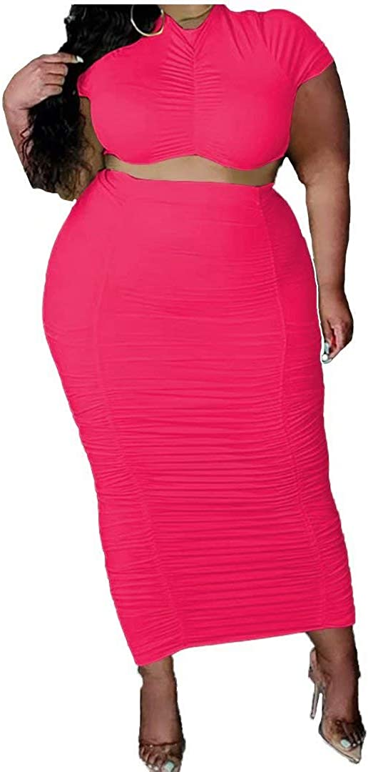 Womens Sexy Plus Size 2 Piece Dress Outfits - Short Sleeve Crop Tops Bodycon Ruched Skirts Set