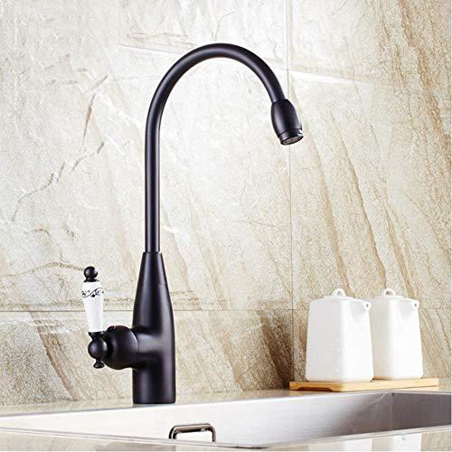 LLLYZZ eenhands-zwart brons keramiek keukenkraan koper retro badkamer wastafelkraan koud- en warmwatermengkraan