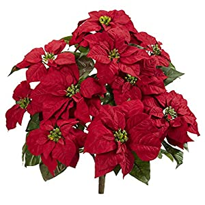 "Nearly Natural 24"" Poinsettia (Set of 2) Artificial Plant, Red"