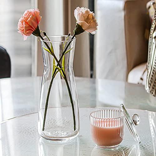 Unishop Vase à fleurs en verre, vase en verre de 26,5 cm de haut, élégant et sophistiqué