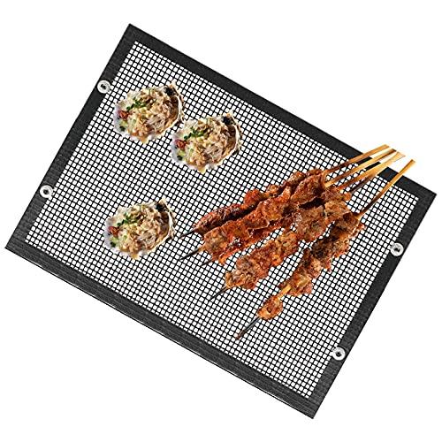 Yagosodee Hoja de rejilla de barbacoa resistente a altas temperaturas, reutilizable, antiadherente, bolsa de malla para barbacoa al aire libre, pícnic, cocinar barbacoa (14 x 22 cm)