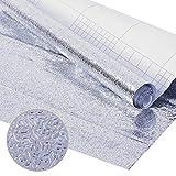 HANSHAN Kitchen Waterproof Oil Proof Backsplash Wallpaper Environment-Friendly Silver Metal Wallpaper Self Adhesive Cabinet Aluminum Drawer Sticker DIY Stove Sticke (Size : 61cm×50m/24×1968inch)