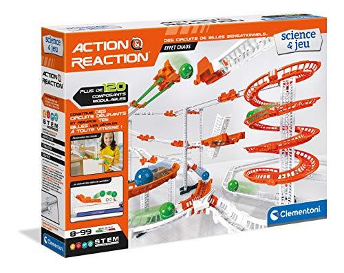 Clementoni- Action & Reaction – Efecto Chaos – Juego de construcción – Circuito de Bolas Creativo, versión Francesa, Fabricado en Italia, 8 años en adelante, Multicolor (52492)