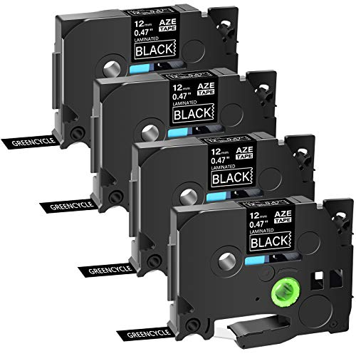 """GREENCYCLE 4 Pack Compatible for Brother TZe-335 TZe335 TZ335 TZ-335 AZE Label Tape 0.47 Inch 12mm 1/2"""" White on Black Laminated for PTD210 PT-H100 PTH110 PT-D400AD PTD600 PT-1290 PT2430PC"""