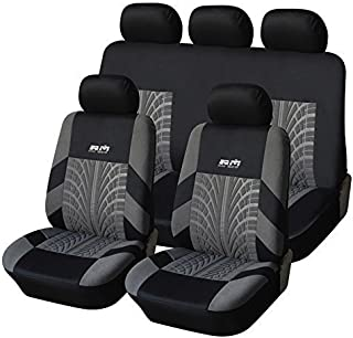 AUTOYOUTH Tire Track Detail Full Set Seat Covers Car Interior Accessories Universal Fit – 9PCS, Black/Gray