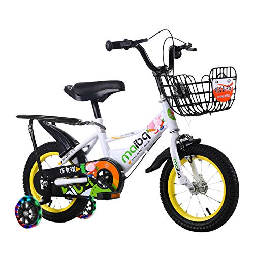 Kids Bike for 3-8 Years Children Bicycle with Training Wheels,Preschool Bike Boys Girls Freestyle BMX Bicycle Gifts for Children Bikes,White,14 in