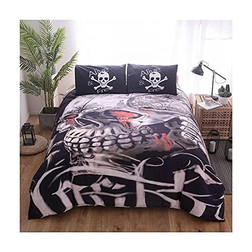 RKMJXJ Schädel-Luxus-Bettdecke, monochromer Schädelkopf, verziert mit Bettlaken, verziert mit 3 Stück Bettwäsche, hautfreundlich, atmungsaktiv und komfortabel (Color : B, Size : 200 * 200)