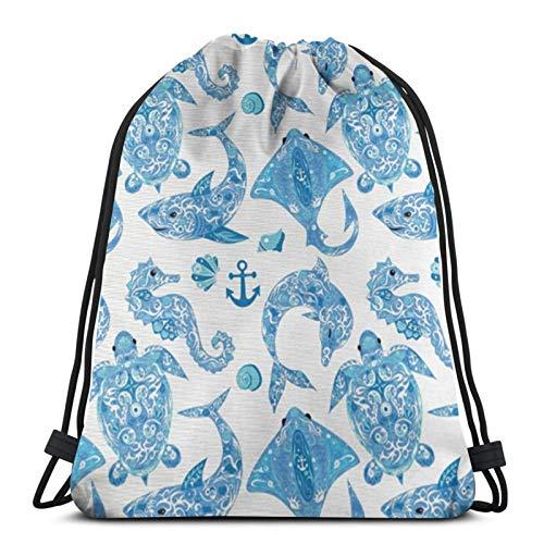 Tortuga, delfín, caballo de mar, molusco, tiburón, fauna, exótico, tropical, acuático, bolsas con cordón, bolsa de gimnasio, bolsa de cuerda ligera para nadar, deportes, viajes, regalos para niños y a