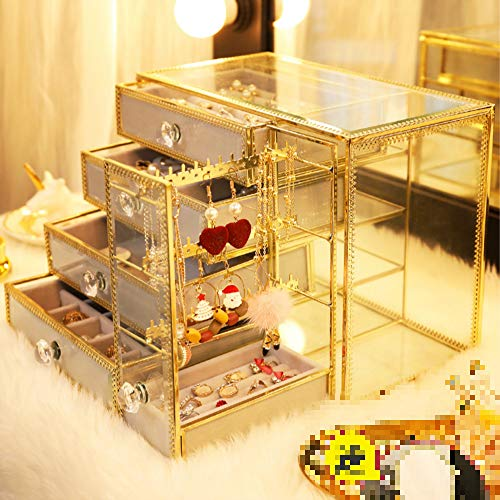Zhuoyi Cosmetic Storage Box Cosmetic Box Storage Makeup Storage Box Cosmetic Organizer Earrings Earrings Earrings Ring Necklace Swatches Gold Glass Jewellery Rack Collection Box