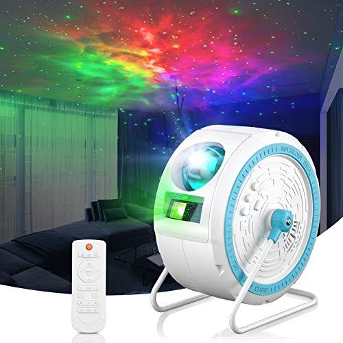 LED Sternenhimmel Projektor Lampe,Galaxy Projector Light mit Fernbedienung Kann aufgehängt/mitFernbedienung/Bluetooth/360°Drehen Musik Player ,für Schlafzimmer,Heimkino,Raumdekoration,Party(Weiß)