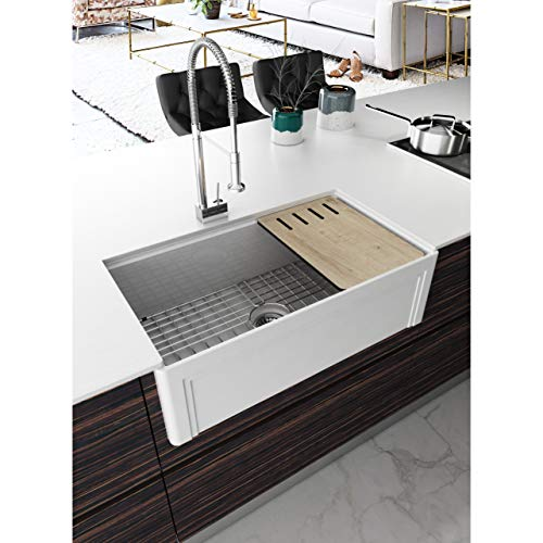 UKN 33 in. Workstation Reversible Farmhouse Kitchen Sink White Rectangle Glossy Rust Resistant Scratch