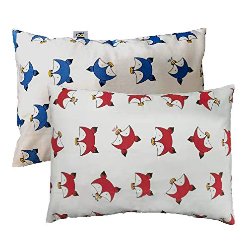 Kids Toddler Pillowcases Set, 1 Baby Pillow with 2 100% Natural Pillow Covers 18x13 inches Machine- Washable for Travel, Toddler Cot, Bed Set (Little Fox Red/Blue)