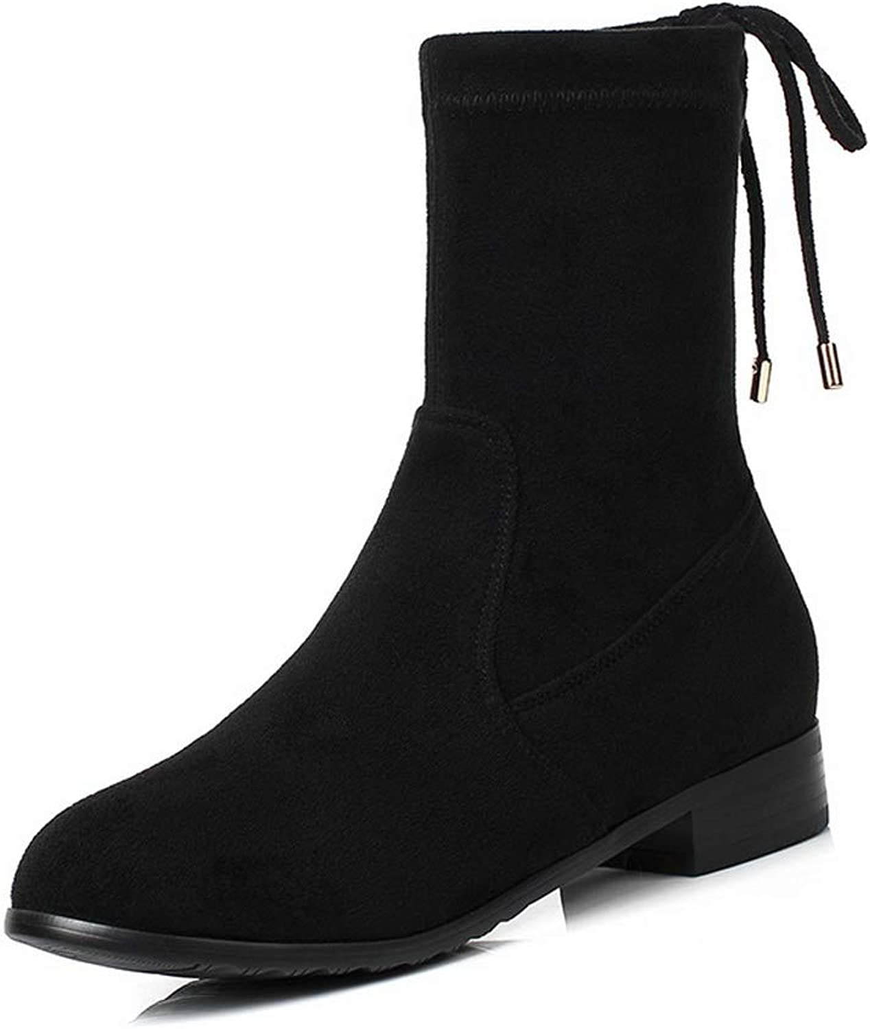 AdeeSu Womens Hollow Out Square Heels Imitated Suede Boots SXC03769