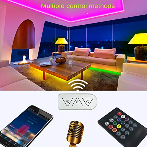 Micomlan 50ft/15M Led Strip Lights,Music Sync Color Changing RGB LED Strip Lights Built-in Mic, Bluetooth app Controlled LED Lights Rope Lights, 5050 RGB LED Light Strip(APP+Remote+Mic+3 Button ) 3