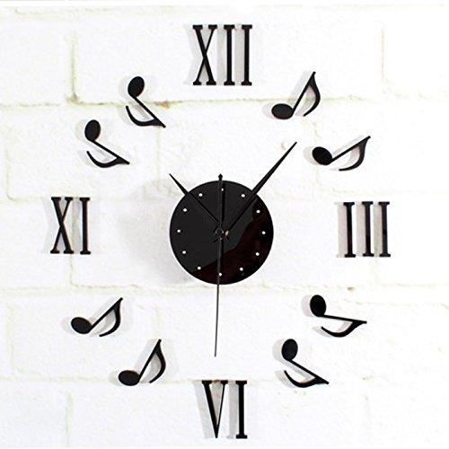 DIY Wanduhr Musik Notation Kombination Dekoration Aufkleber Wand 3D Uhr LuckyGirls (Schwarz)