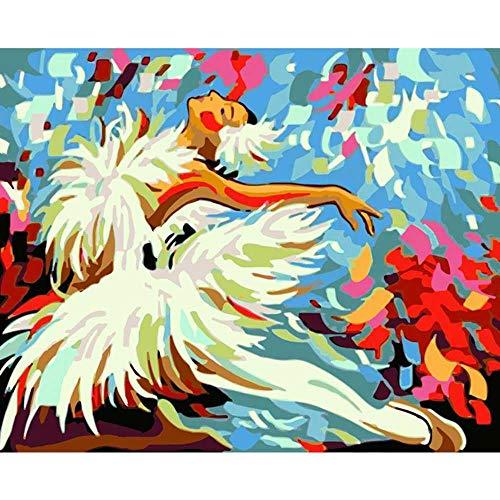 YSNMM Schilderen Door Getallen Diy Jumping Wit Ballerina Meisje Figuur Canvas Bruiloft Decoratie Art Foto Cadeau