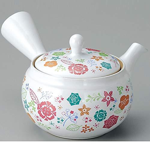 Yamakiikai FY1316 - Tetera Japonesa de cerámica Kyusu, diseño de Flores, Color Blanco
