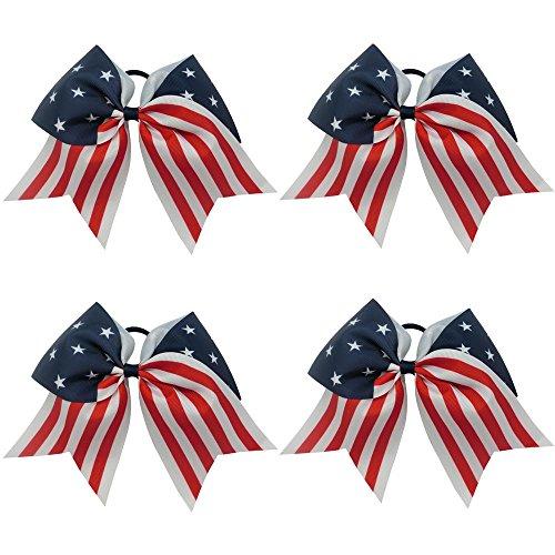 CN 4th of July Hair Bows Patriotic Cheerleader Hair Bows American Flag Hair Bows for Cheerleading...