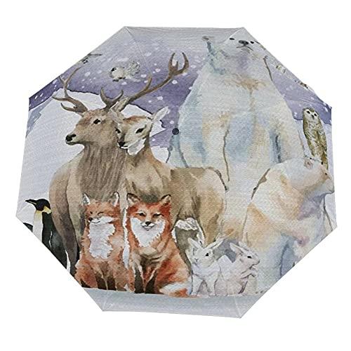 Paraguas anti-UV para sol/lluvia,Animales polares Invierno Acuarela Oso Alce Pingüino Zorro en el campo de hielo Paraguas de viaje a prueba de viento: compacto, automático.