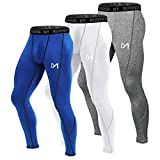 MEETYOO Men's Compression Pants, Cool Dry Long Base Layer Leggings, Sport Fitness Underwear Tights (3pcs-D, Medium)