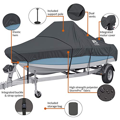 "Classic Accessories StormPro Heavy Duty Center Console Boat Cover, For 17'-19' Long, Up to 102"" Beam Width"